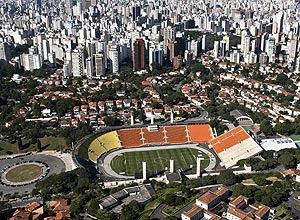 Vista aérea do estádio do Pacaembu