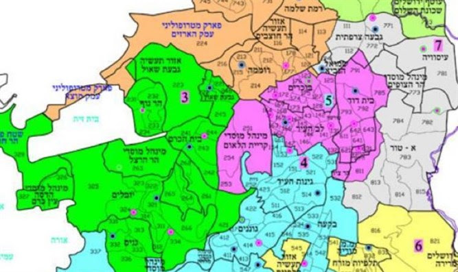 Map of the zones which will be locked down (in Hebrew)