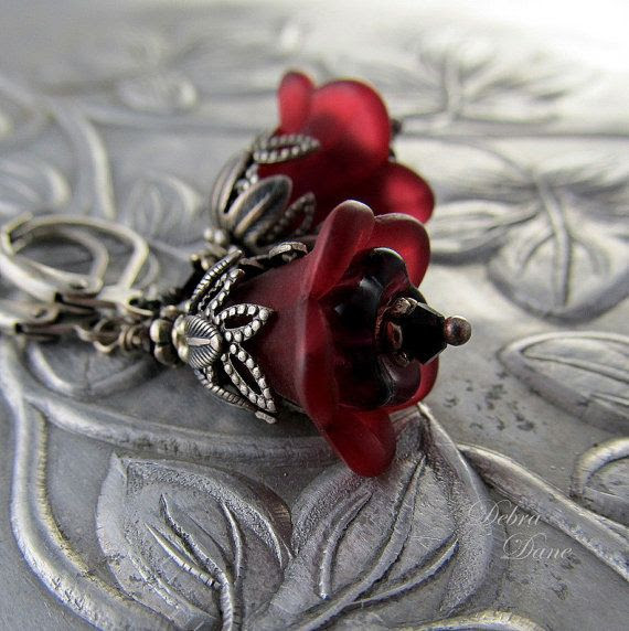 Garnet Earrings  Burgundy Flower Earrings January by DebraDane, $24.00