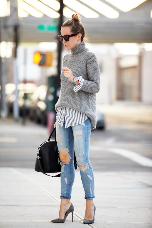 Le Fashion Blog 25 Ways To Wear A Striped Button Down Shirt Under Sweater Ripped Jeans Via Brooklyn Blonde Top Knot Pumps Blogger Style