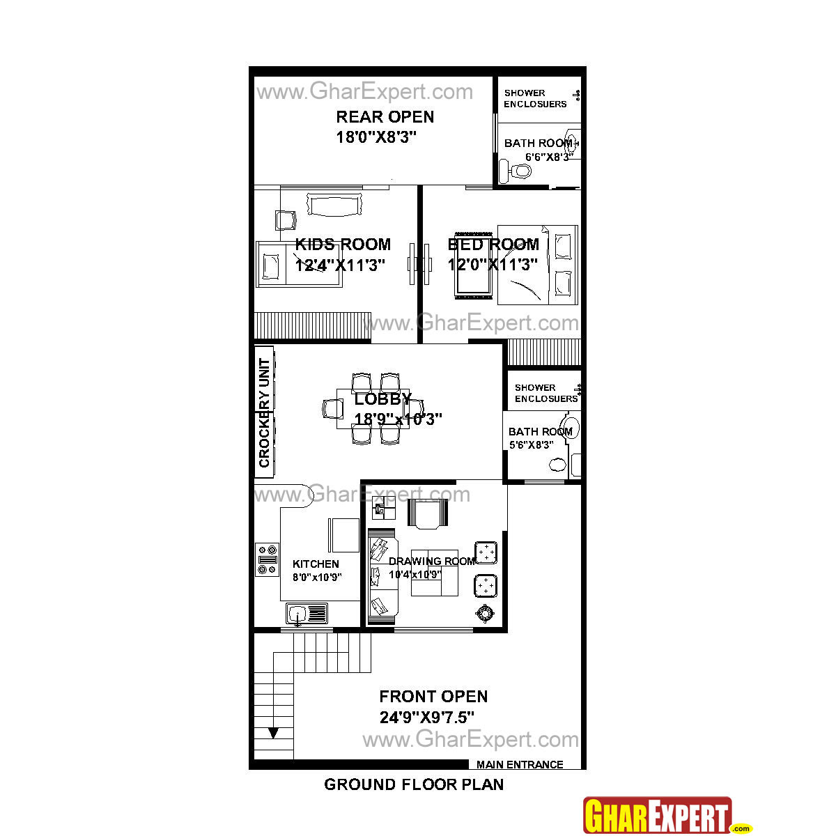House Plan For 25 Feet By 53 Feet Plot Plot Size 147 Square Yards