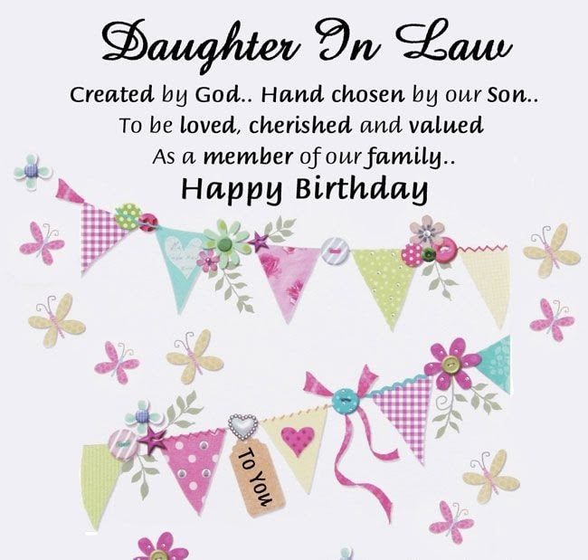 Daughter In Law Created By God Hand Chosen By Son Happy Birthday Nice Wishes