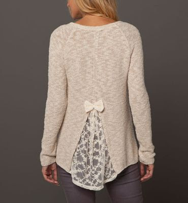 Easy jumper Hack - cut back of a sweater that's too small and insert lace. Cutting higher will make sweater looser in chest and neck. The wider the lace the more give.: