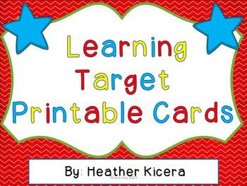 Learning Target Printable Cards by Heather Kicera | Teachers Pay ...