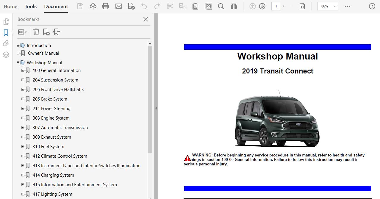 2019 Ford Transit Connect Repair Manual