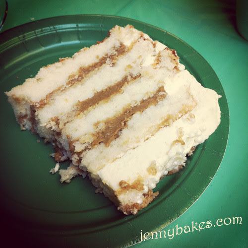 Slice of lemon gingerbread wonderland cake