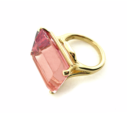 Donna Vock emerald cut morganite cocktail ring (28.73cts). Delicious.