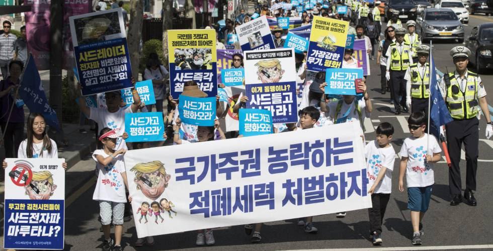 Una protesta en Corea del Sur contra el despliegue del THAAD.