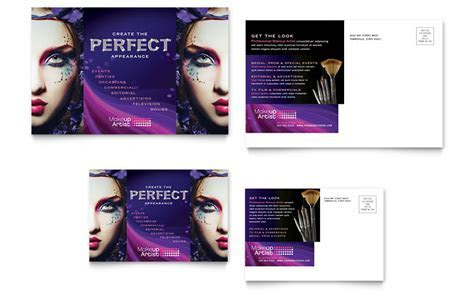 Makeup Artist Postcard Template   Word & Publisher
