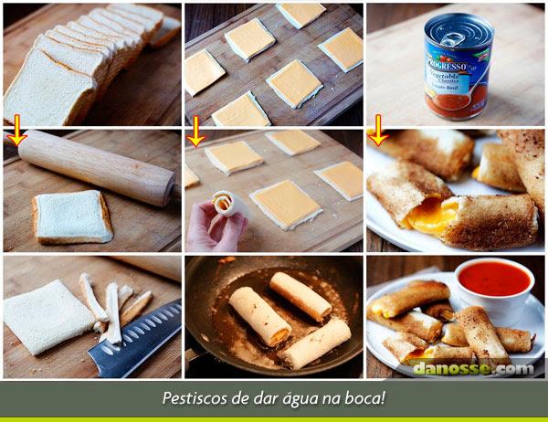 Enroladinho de pão e queijo fritos!