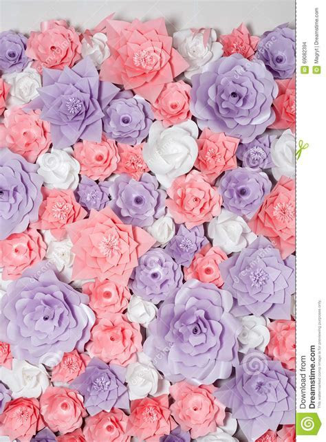 Colorful Paper Flowers Background. Floral Backdrop With