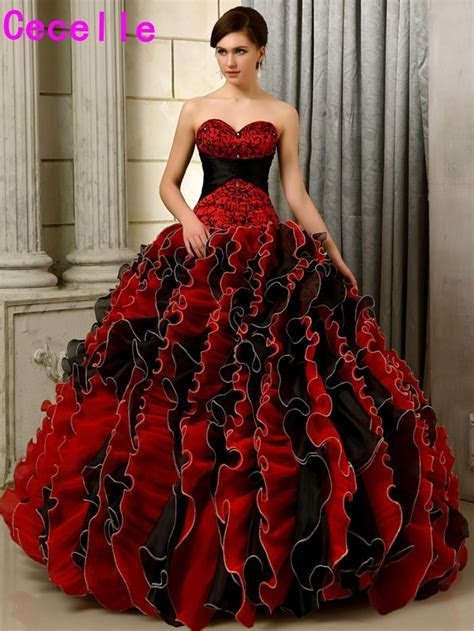 2017 Black And Red Gothic Wedding Dresses Ball Gown