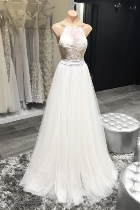 Halter White Sheer Summer Wedding Dresses Sexy Open Back