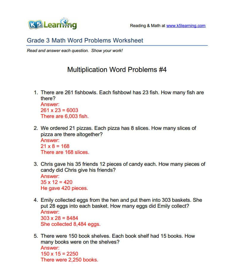 K5 Provides Answers To Math Word Problems Worksheets