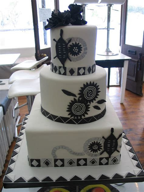 Black & white African Traditional wedding cake in deliciou
