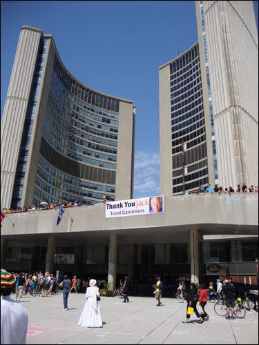 Thank You Jack sign at Toronto City Hall