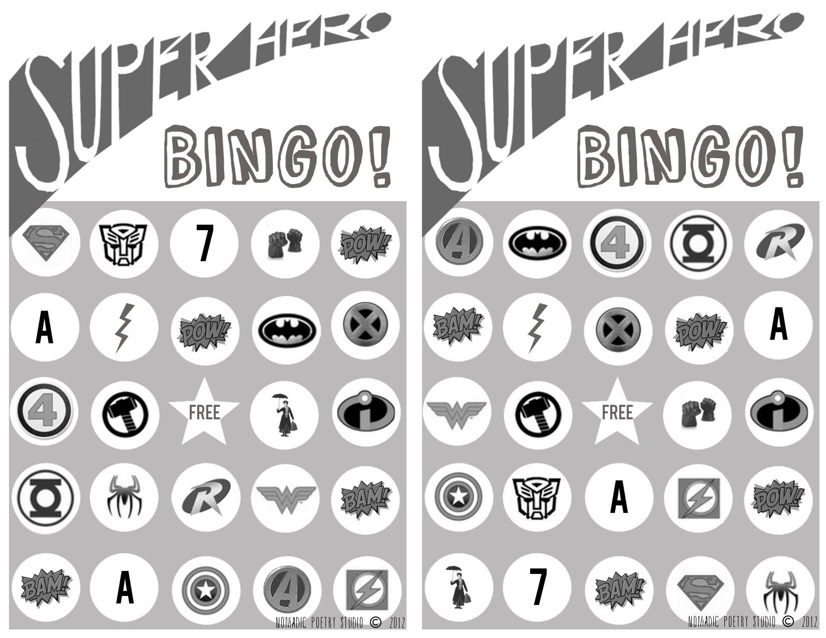 Free Super Hero Bingo Printables | Logos, Bingo and Studios