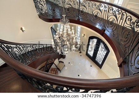 Spiral Staircase With View Into Foyer Stock Photo 34747396 ...