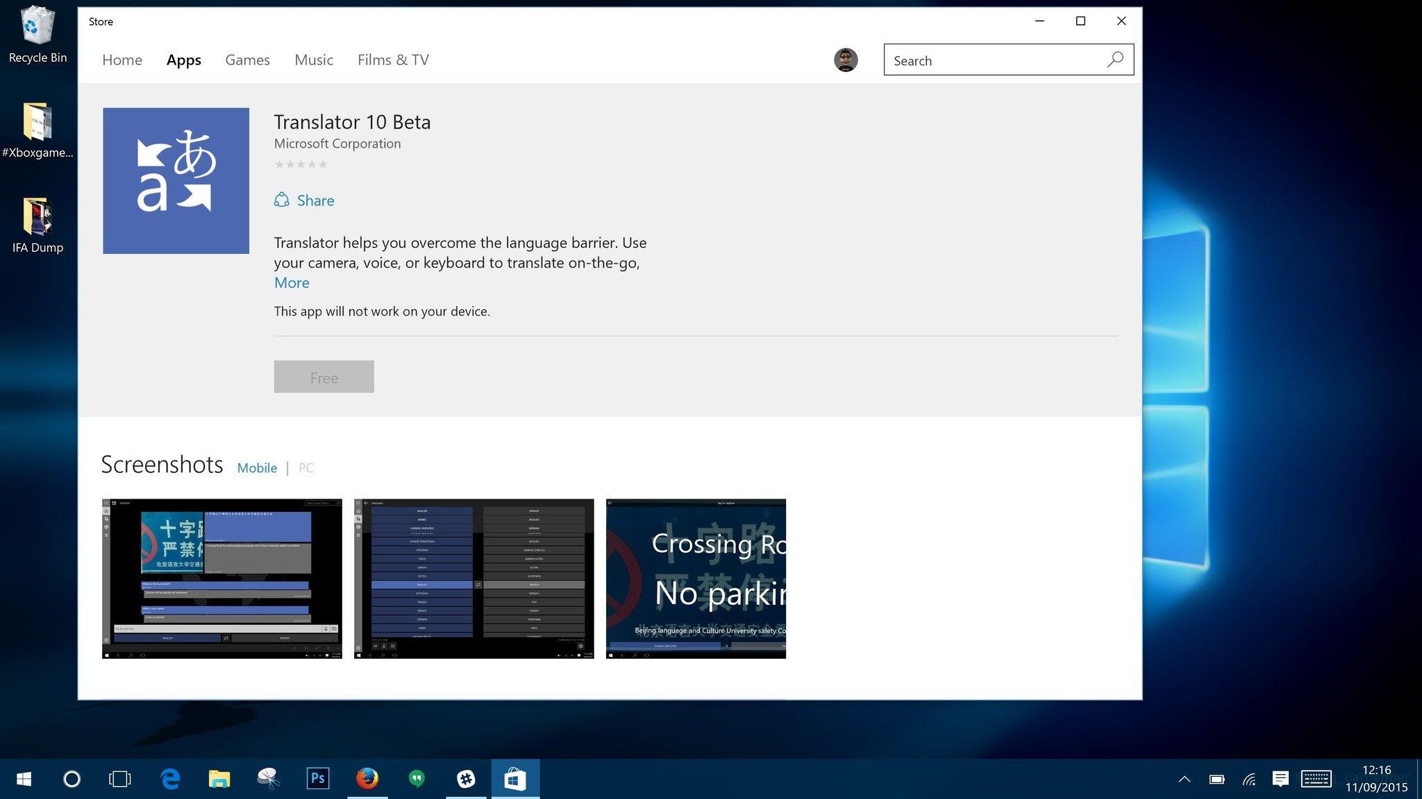 Microsoft Translator 10 Beta