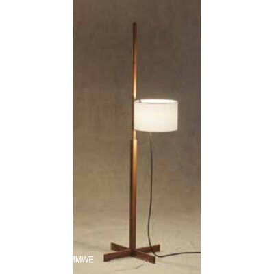Drum-Shaped Floor Lamp Finish: Wenge, Shade Color: White Parchment ...