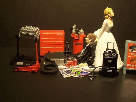 NEW AUTO MECHANIC Bride and Groom Wedding Cake Topper
