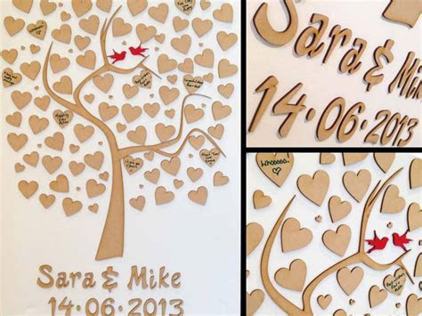 Personalised Wooden Tree Wedding Guest Book   MDF