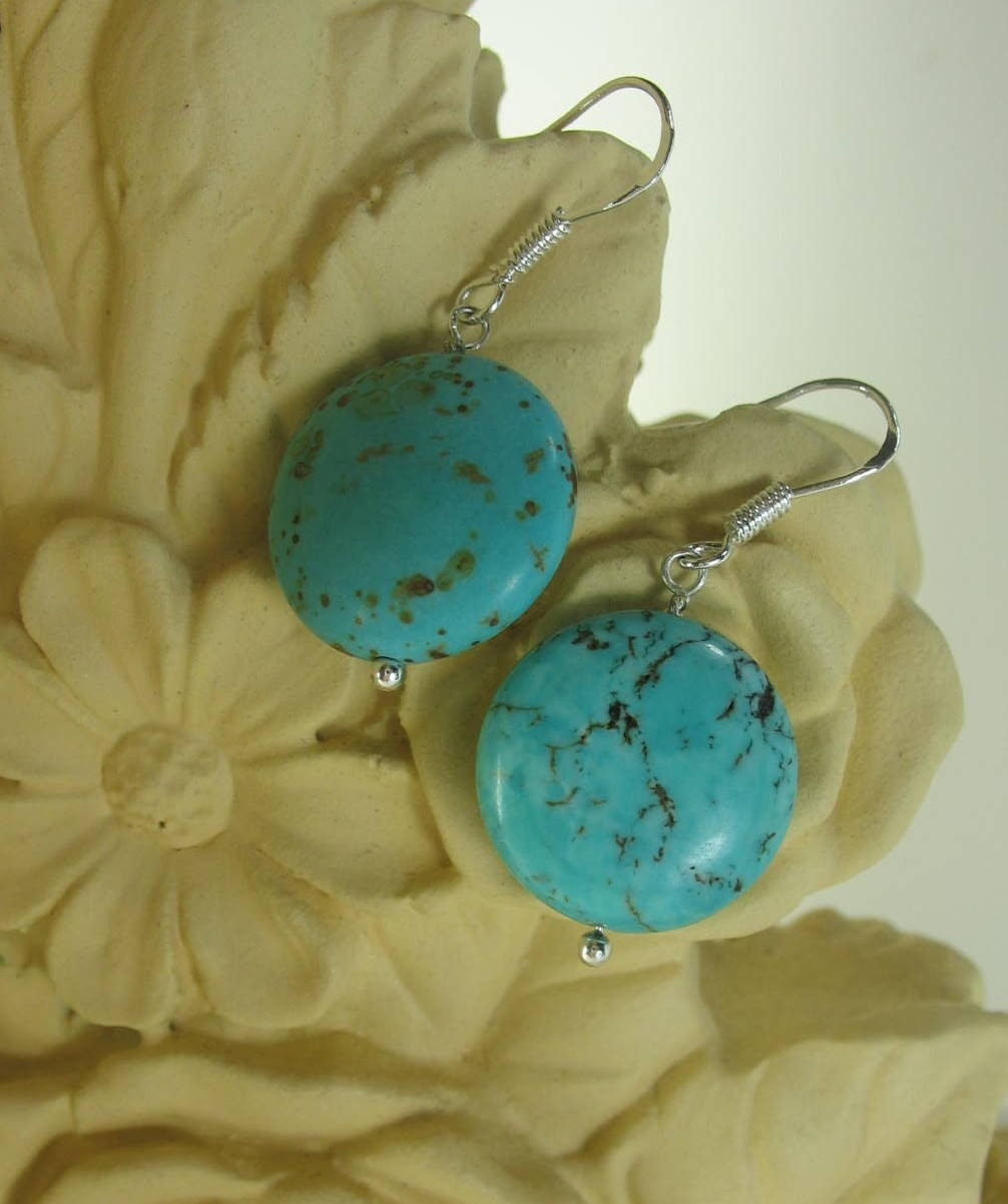 Early On - Simple turquoise earrings on sterling silver
