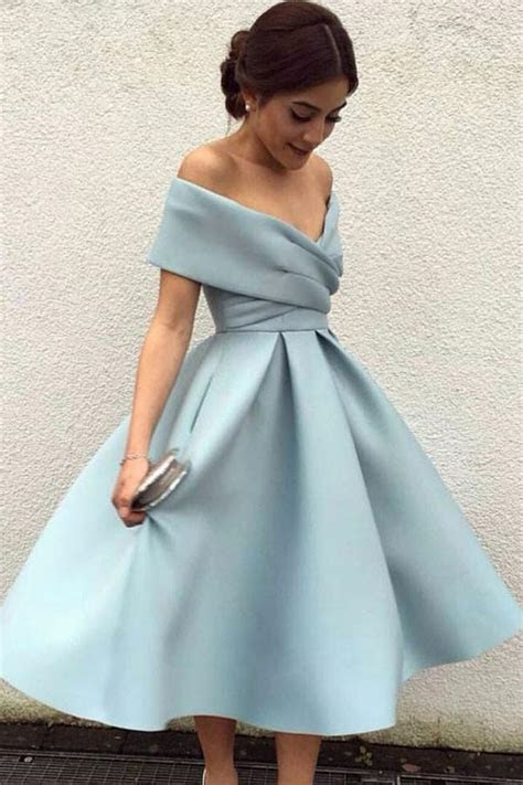 Off the Shoulder Tea Length Homecoming Dress,Light Blue