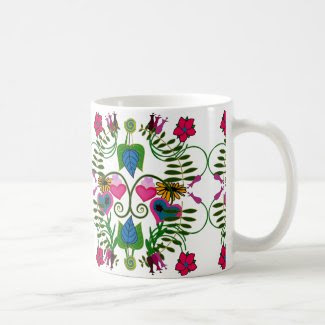 Springtime Folk Art Botanical Mug
