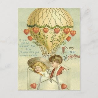 Vintage Valentine Hot Air Balloon postcard