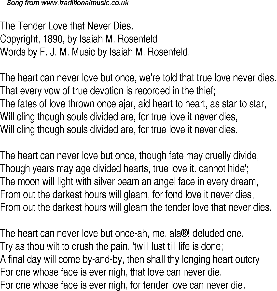 Old Time Song Lyrics For 30 The Tender Love That Never Dies