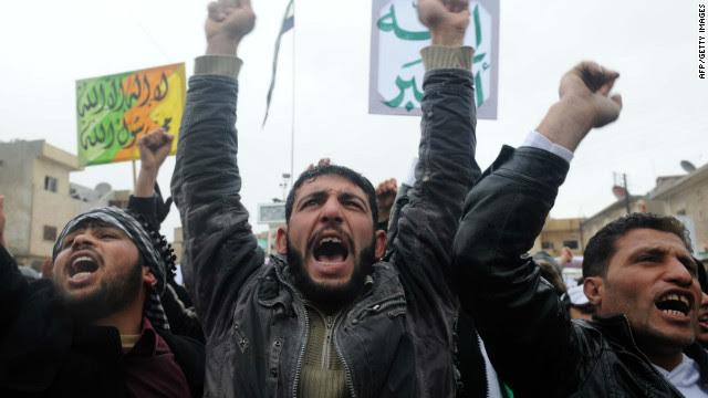 Syrians demonstrate against the regime of Bashar al-Assad in February.