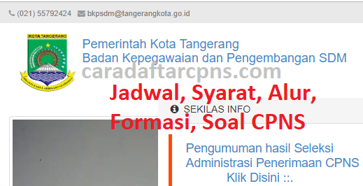 Jadwal Pendaftaran CPNS Pemkot Tangerang 2021 Lulusan SMA ...
