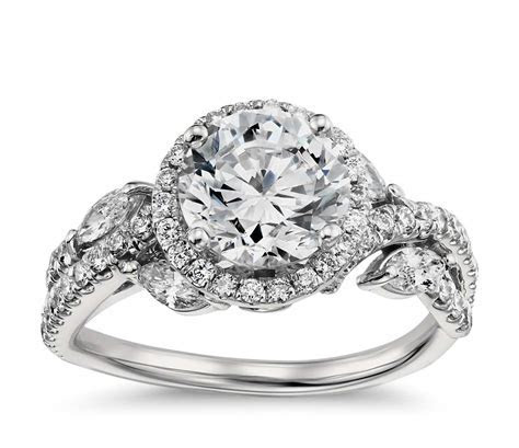 Monique Lhuillier Floral Halo Diamond Engagement Ring in