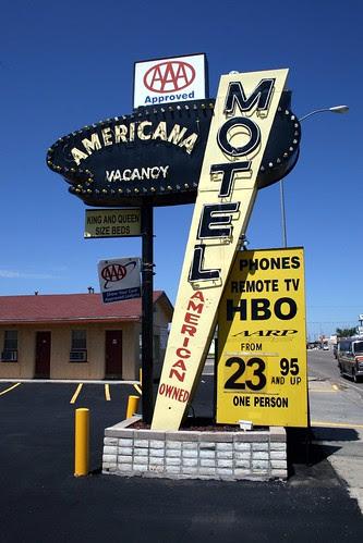 the americana motel neon sign