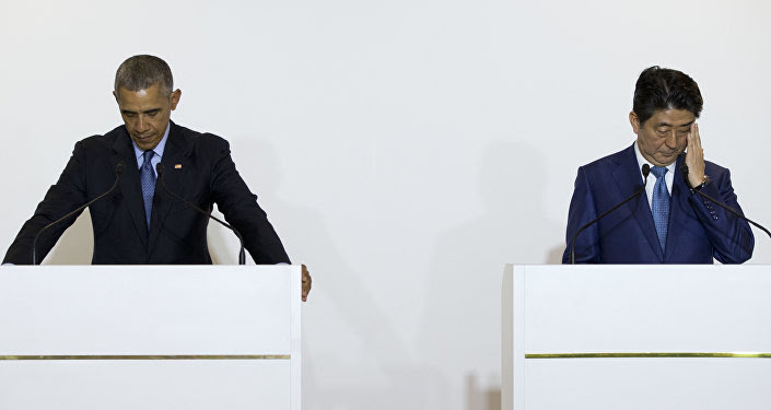 President Barack Obama and Prime Minister Shinzo Abe at a press conference in Japan on May 25, 2016