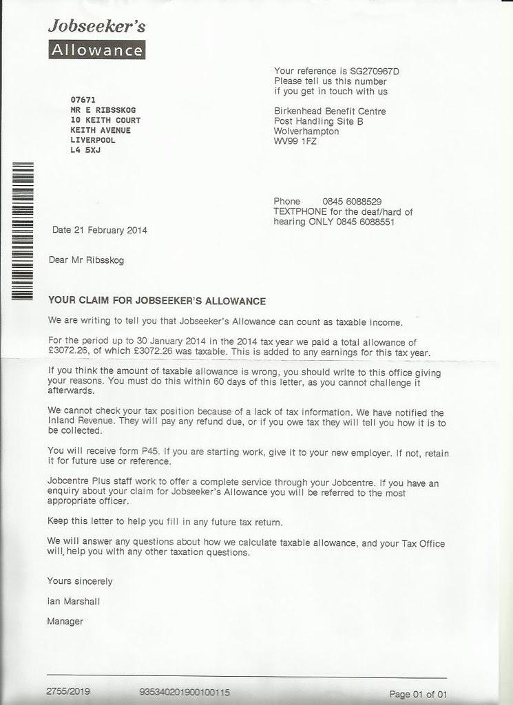 jobcentre brev