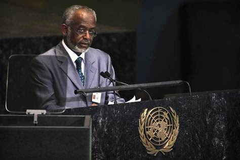 Republic of Sudan Foreign Minister Ali Ahmed Karti addressing the United Nations General Assembly. He criticized the United States for refusing a visa to President Omar Hassan al-Bashir. by Pan-African News Wire File Photos
