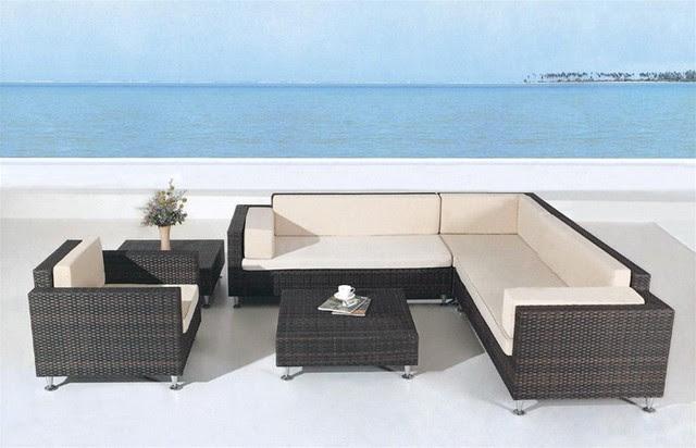 Avrim Patio Sectional Sofa Set - tropical - patio furniture and ...
