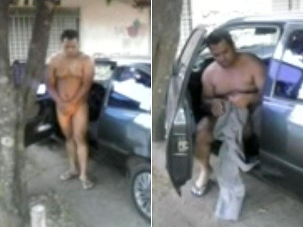 Homem flagrado nu em via pública de Ceilândia, no Distrito Federal (Foto: Polícia Militar/Reprodução)