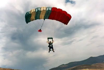 About to touch down onto the ground after skydiving above San Diego on August 6, 2005.