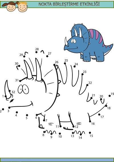 Boynuzlu Dinozor Nokta Birleştirme Etkinliği Meb Ders