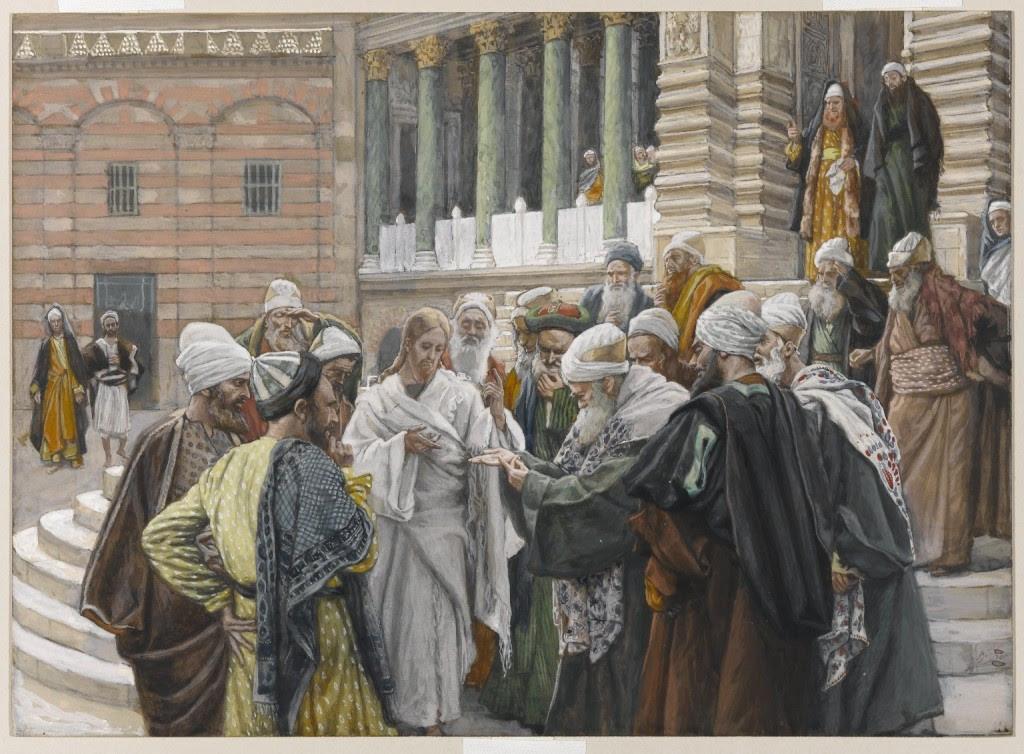 """""""O tributo a César"""", quadro de James Tissot. Os fariseus tentam fazer com que Jesus Cristo caia em contradição."""