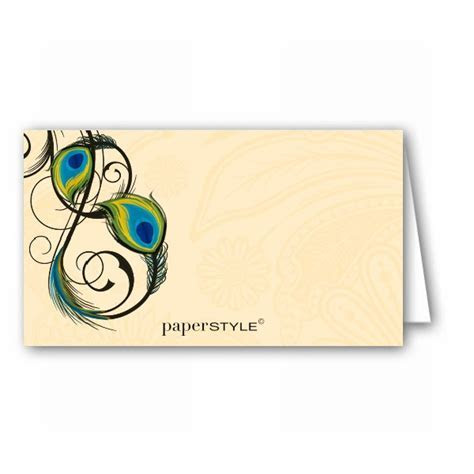 Peacock Feathers Place Cards   PaperStyle