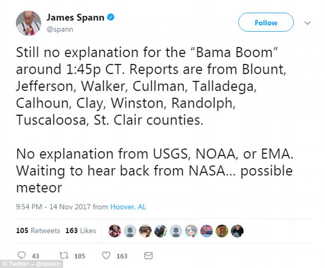 James Spann,AMS Certified Broadcast Meteorologist tweeted that no explanation had been provided by USGS, NOAA or EMA