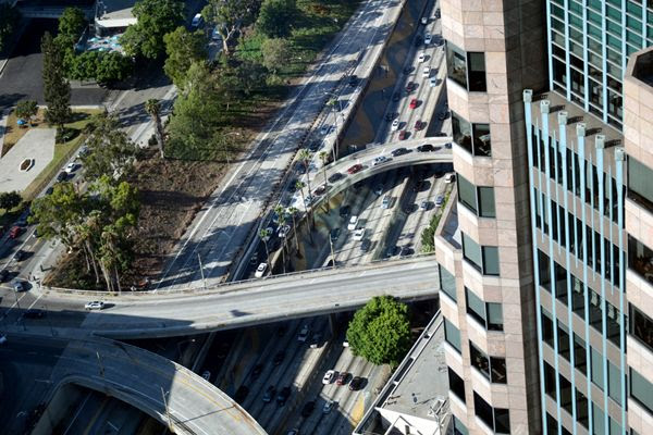 A snapshot of traffic on the 110 freeway as seen from the 70th floor of the Wilshire Grand Center...on July 26, 2017.