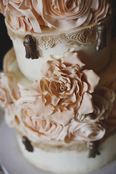Pink Gold and Cream Wedding Cake   Elizabeth Anne Designs