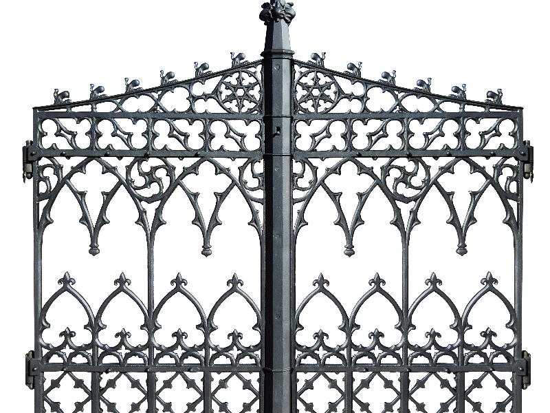 Gothic Black Iron Gate Door PNG Stock Image (Isolated ...