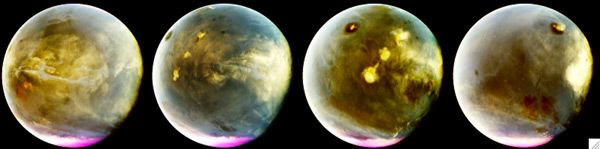 Martian hemispheres as seen in the ultraviolet by NASA's MAVEN spacecraft on July 9-10, 2016.