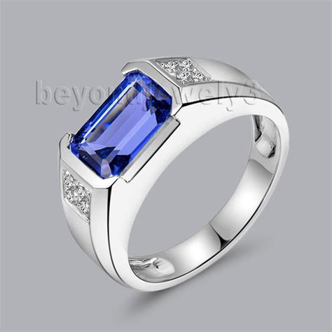 3.19ct Natural Diamond Tanzanite Rings In 18Kt White Gold